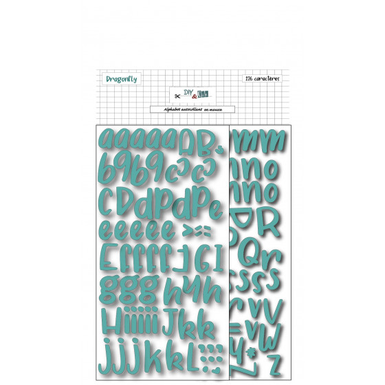 Stickers Alphabet foam : turquoise - DIY and Cie