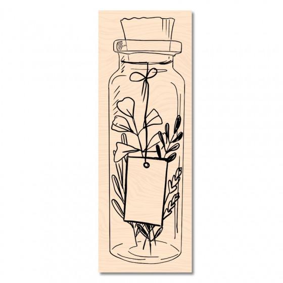 Tampon bois Cahier d'Automne Jolie bouteille -Les Ateliers de Karine